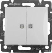 Выключатель с подсветкой 2 кл. VALENA белый Legrand (774428)