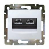 Розетка компьютерная 2xRJ-45UTP Valena белая (774231)