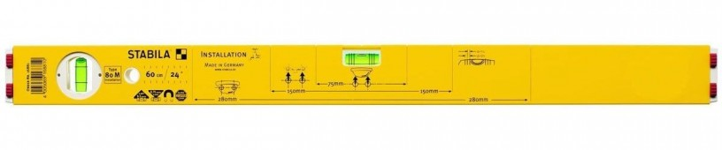 16881 STABILA Уровень тип 80M, .60см /1верт,1гориз,магн.точн.0,5мм/м/для сантехника