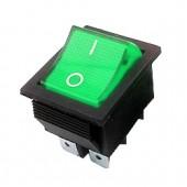 21537/Выключатель 603  31*25мм /28*21,5/ 250В 16А зеленый вкл-выкл